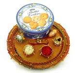 Elegant Rakhi Thali with Cookies