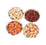 Mix Dry Fruit in  Silver Bowls
