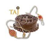 1 Kg. TAJ Chocolate Cake with 2 Rakhi